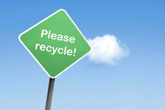 Gelieve te recycleren Royalty-vrije Stock Foto's