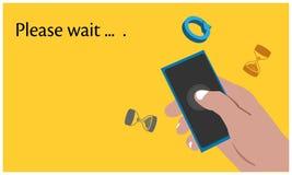 Gelieve te wachten met hand - gehouden smartphone op de gele achtergrond Vlakke vectorillustratie vector illustratie