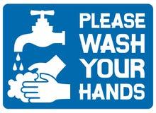 Gelieve te wassen uw handenteken Stock Afbeeldingen