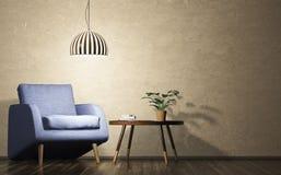 Gelijk makend binnenland van ruimte met 3d leunstoel, lamp en koffietafel Stock Fotografie