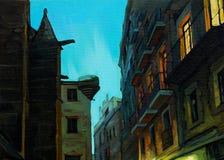 Gelijk makend in gotisch kwart van Barcelona, het schilderen stock illustratie