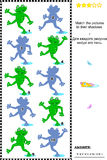 Gelijke aan schaduw visueel raadsel - kikkers Stock Foto's