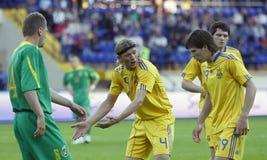 Gelijke van de de teamsvoetbal van de Oekraïne - van Litouwen de nationale Stock Fotografie