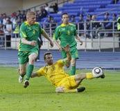 Gelijke van de de teamsvoetbal van de Oekraïne - van Litouwen de nationale Royalty-vrije Stock Foto