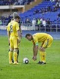 Gelijke van de de teamsvoetbal van de Oekraïne - van Litouwen de nationale Royalty-vrije Stock Foto's