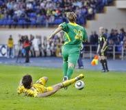 Gelijke van de de teamsvoetbal van de Oekraïne - van Litouwen de nationale Stock Foto's