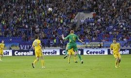 Gelijke van de de teamsvoetbal van de Oekraïne - van Litouwen de nationale Royalty-vrije Stock Afbeelding