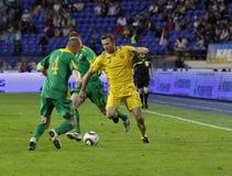 Gelijke van de de teamsvoetbal van de Oekraïne - van Litouwen de nationale Royalty-vrije Stock Afbeeldingen
