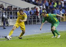 Gelijke van de de teamsvoetbal van de Oekraïne - van Litouwen de nationale Stock Afbeelding
