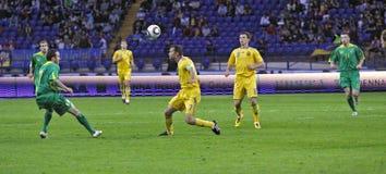 Gelijke van de de teamsvoetbal van de Oekraïne - van Litouwen de nationale Royalty-vrije Stock Fotografie