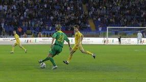 Gelijke van de de teamsvoetbal van de Oekraïne - van Litouwen de nationale Stock Afbeeldingen