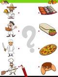 Gelijkechef-koks en voedsel onderwijsspel vector illustratie