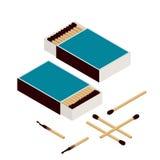 Gelijken en lucifersdoosje Geïsoleerd op wit Nieuwe matchstick Het branden Matchstick Gebrand matchstick Vlakke 3d vector isometr Royalty-vrije Stock Afbeelding