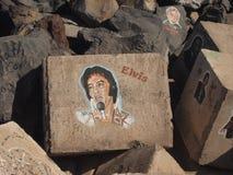 Gelijkenis van Elvis op de steen royalty-vrije stock foto's