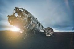 Gelijkstroom-3 abondened vliegtuig in IJsland Stock Afbeelding