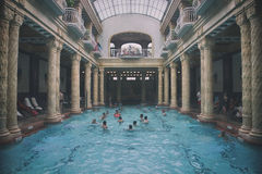Gellert bath. Historical indoor bath of Gellért spa in Budapest - Hungary Royalty Free Stock Image