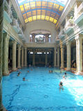 Gellért Thermal Baths and Swimming Pool, Budapest. BUDAPEST - JULY 30: Gellert Thermal Baths in Budapest on July 30, 2005. This traditional Hungarian thermal royalty free stock photo