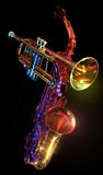 Gelled trumpet & saxaphone. A shot of a gelled trumpet & saxaphone Stock Photos
