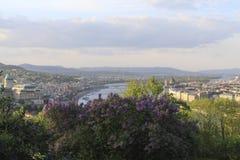 从Gellert小山的看法在布达佩斯在春天 免版税库存照片