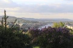 从Gellert小山的看法在布达佩斯在春天 免版税图库摄影