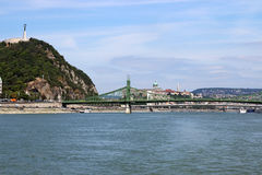 Gellert hill and bridges Budapest Royalty Free Stock Photos