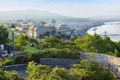 Gellert Hill and Buda castle at evening. Budapest. Hungary. View on Gellert Hill and Buda castle at evening. Budapest. Hungary stock photo