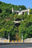 Gellert hill in Budapest. Gellért Hill  is a 235 m  high hill overlooking the Danube in Budapest, Hungary. Gellért Hill was named after Saint Gerard who was Royalty Free Stock Photo