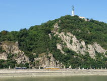 Gellert Hill, Budapest, Hungary. The 235 m high Gellert Hill overlooking the river Danube, with the Liberty Statue (Liberation Monument), a characteristic Royalty Free Stock Images