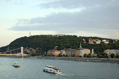 Gellert hill on Danube river Budapest Royalty Free Stock Photos