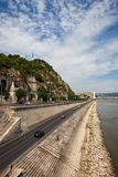 Gellert Hill and Danube River Waterfront in Budapest royalty free stock images