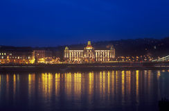 Gellert Hotel Palace in Budapest at night. Royalty Free Stock Image