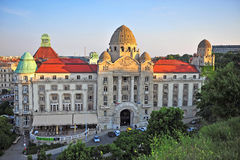 Gellert hotel and thermal spa, Budapest. BUDAPEST, HUNGARY - MAY 21: Top view of Gellert hotel and thermal spa, Budapest on May 21, 2016. Budapest is the capital Royalty Free Stock Photo