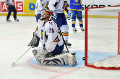 Gellert Ruczuj missed the puck. During the World Cup match between hockey teams of the Romania and Ukraine. Division I, Group B 14 April 2013. DS Druzhba in royalty free stock photography