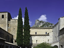 Gellone Abbey. Situated in the narrow valley of the Gellone river where it meets the steep sided gorge of the Hérault River, Gellone Abbey is a famous royalty free stock photography