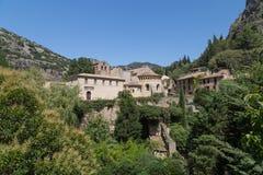 Gellone-Kloster an der Heilig-Guilhem-Le-Wüste, UNSECO lizenzfreies stockfoto