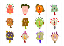 Geïllustreerder gezichten Stock Foto