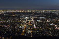Gelndale and Los Angeles Night Aerial Stock Image