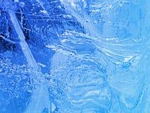 Gelo azul Abstraia a textura do gelo Fotos de Stock Royalty Free