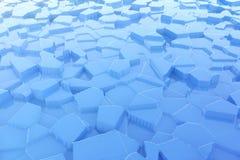 Gelo azul abstrato com fundo das reflexões rendição 3d Fotos de Stock Royalty Free