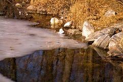 Gelo de derretimento em um lago Imagens de Stock Royalty Free