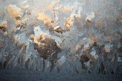 Gelo del fondo sulla finestra Fotografia Stock