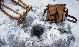 Gelo do vintage que pesca #2 Imagens de Stock Royalty Free