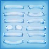 Gelo e Crystal Banners de vidro dos desenhos animados Imagens de Stock Royalty Free