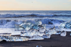 Gelo em uma praia preta fotografia de stock royalty free