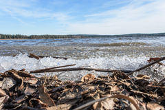 Gelo formado no lago Imagem de Stock Royalty Free