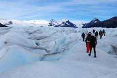 Gelo grande Perito Moreno Glacier Popular Tourist Trekking, Calafate Argentina fotografia de stock royalty free