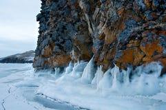 Gelo na superfície do Lago Baikal Imagem de Stock Royalty Free