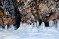 Gelo na superfície do Lago Baikal Fotografia de Stock