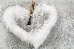 Gelo no coração dado forma Fotos de Stock
