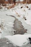 Gelo no rio no inverno Imagens de Stock